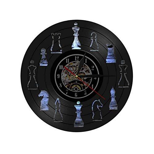 Pieza de ajedrez Decoración de Arte para el hogar Club de ajedrez Reloj de Pared Diseño de Interiores Sala de Estar Disco de Vinilo Reloj de Pared Chessman Chess Lovers Gift