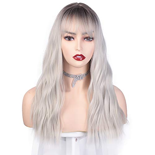 Vigorous Ombre Silver Wigs with Bangs Synthetic Wavy Wigs for Women Dark Roots Gray Medium Length Wig natural looking wigs for Party Cosplay Daily Use