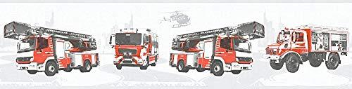 A.S. Création Bordüre Little Stars Borte mit Feuerwehr Autos 5,00 m x 0,13 m grau rot schwarz Made in Germany 358142 35814-2