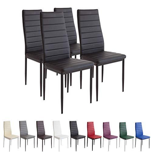 Albatros Esszimmerstühle MILANO, 4er Set, schwarz, SGS geprüft