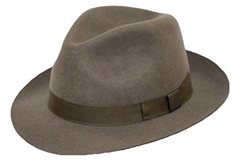 Homme de grande qualité 100 % feutre de laine Fedora Chapeau avec bande assortie. - gris - 62