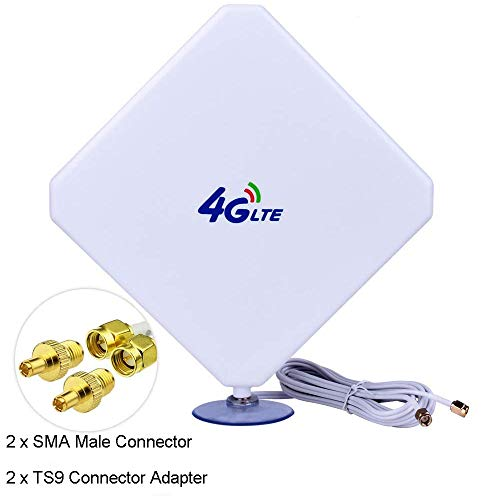 4G LTE Antenna,WiFi Antenna,35dBi Panel MIMO SMA Male TS9 Antenna 3G/GSM WiFi Signal Booster Amplifier Antenna for 4G LTE Router Cellular Gateway Modem Huawei Mobile Hotspot Verizon Jetpack Netgear