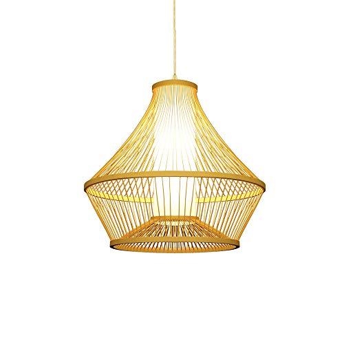 KAIKEA Paisaje Retro Tema Creativo Hogar Chino Diseño Minimalista/Arte de bambú Candelabro Colgante/Iluminación de Estudio de Dormitorio Candelabro Decorativo de Techo LED