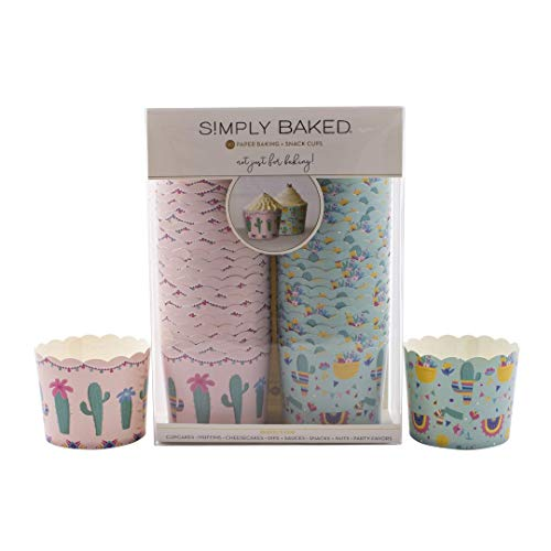Simply Baked Large 5 Ounce Disposable Paper Baking Cups, 100 Pack of Cupcake Muffin Wrappers for Baking or Party, Treats, Candy, and Snack Cups, Catus
