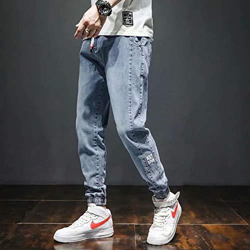 Pantalones Pantalones Vaqueros Holgados Azules con Cordón, Cinturón Holgado para Hombre, Estilo Callejero, Ropa Informal KPOP, Pantalón Coreano S-5Xl