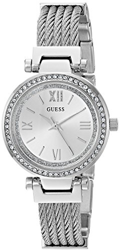 GUESS Stainless Steel Wire Bangle Bracelet Watch with Self-Adjustable Links. Color: Silver-Tone (Model: U1009L1)