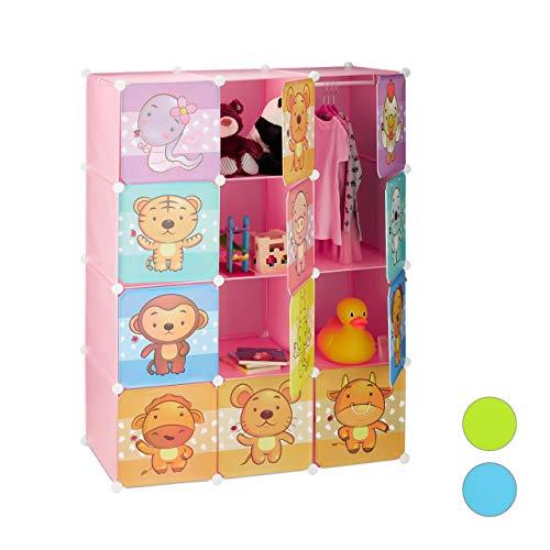 Relaxdays Steckregal Kinderzimmer, Tiermotive, Mädchen, Türen, Kleiderstangen, Kunststoff Kleiderschrank 145x110cm, rosa, Pink, Standard