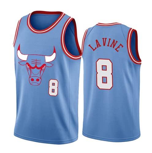 XHDH Jersey Men's NBA Bulls 8# LaVine Vintage Jersey, Tejido Fresco Transpirable, Ventilador De Baloncesto Unisex Sin Mangas Sport Chaleco Top,Azul,XXL 185~190cm