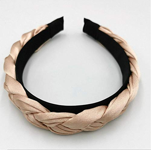 sufengshop Koreaans vlechtwerk haarband dames stof geknoopt hoofdband vintage twist turban haarsieraad feesten brede haarband hoofddeksel champagne kleur