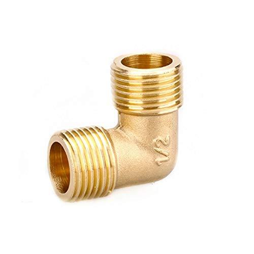 MDD Laiton Tube Fitting Adapter 90 Degrés, 1/8' 1/4' 3/8' 1/2' 3/4' BSP Tuyau D'huile d'eau Et De Gaz Raccord Coude Coupler (Size : 1/2')