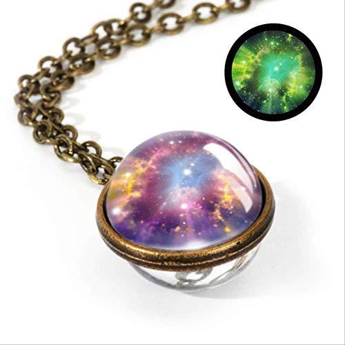 XINGXX accessori Nebula Galaxy Doppia Facciaa Ciondolo Collana Gioielleria Orologio Immagine A Mano Collana LGS0038-Luminous