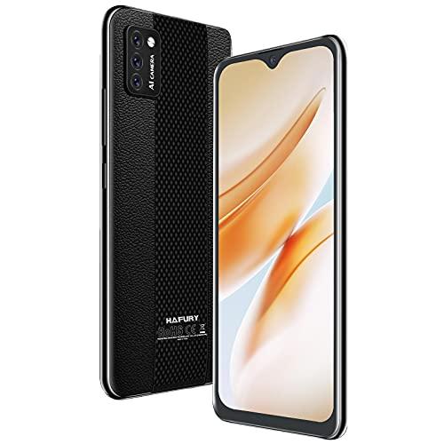 Hafury Smartphone Libre Barato y Bueno, Móvil Libre 4G Inteligente Android 10 Cámara Triple 5.5 Pulgadas Dual Sim 3100mAh, Tres Ranuras Desbloqueo Facial Memoria Expandible(hasta 128 GB), Negro