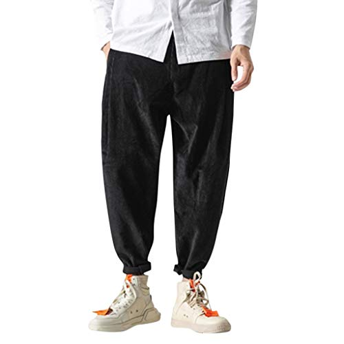 serliy😛Herren-Cordhose, schmale Passform, mit komfortablem Stretch Neue Art Cord beiläufige Retro Hosen Arbeiten große Reine Farben-Hose um Bequeme Outdoor-Hosen