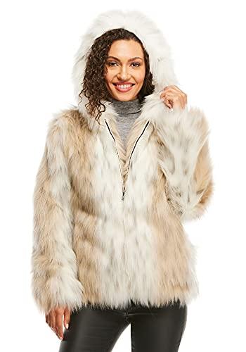Snow Lynx Faux Fur Hooded Parka (S) (Snow Lynx)