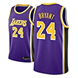 Camiseta de Baloncesto para Hombre, NBA, Los Angeles Lakers #24 Kobe Bryant. Bordado Swingman Transpirable y Resistente, Fresco y transpirable tejido deportivo, que absorbe la humed(Size:M,Color:A2)