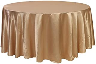 Your Chair Covers - 120 inch Round Satin Tablecloth Champagne, Round Table Linens for 5 ft Round Banquet Tables