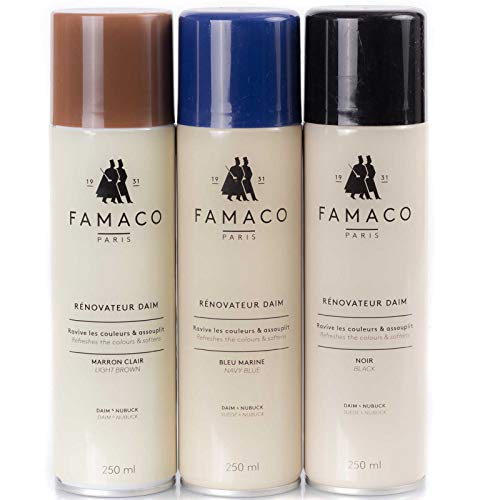 Famaco Famaco Nubuk Wildleder und Raulederspray Farbset 3-teilig 250 ml Schwarz, Blau, Mittelbraun