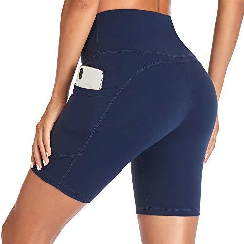Gimdumasa Pantalones Cortos Deporte Mujer Cintura Alta Shorts Leggins Pantalones Cortos de Yoga para Correr Gym Fitness Mallas Deportivos con Bolsillos Laterales GI371