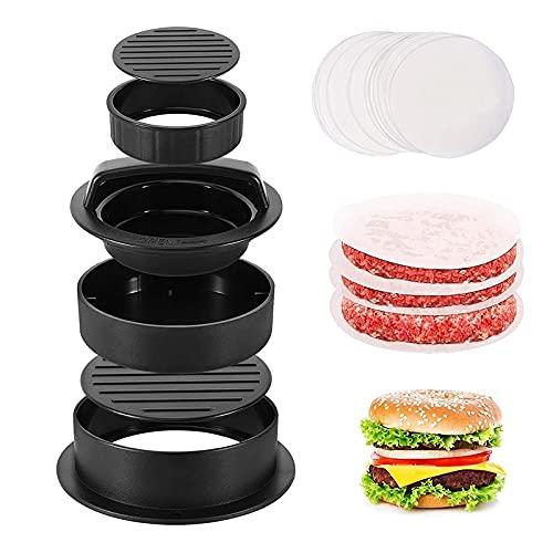 Komake Set per Hamburger 3 in 1, Pressa per Hamburger, Pressa per Hamburger con 150 Cartine per...