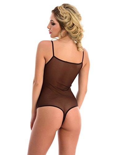 Magi Body da donna   Body in tulle con spalline per spaghetti S M L XL XXL Sotto Body aderente vestibilità ottimale   Perizoma da donna trasparente   intimo marrone S