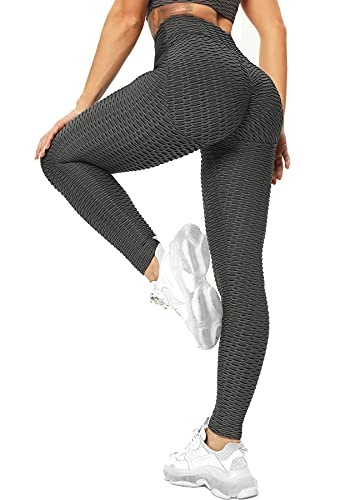 RIOJOY Damen Push Up Leggings - High Waist Anti Cellulite Leggins Scrunch Butt Po Lifting Sporthose Yogahose, Grau M