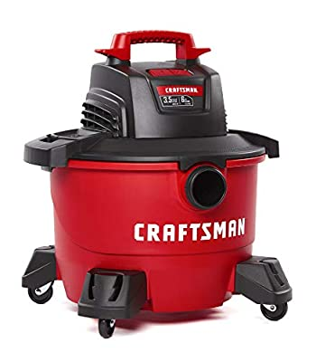 CRAFTSMAN CMXEVBE17584 6 Gallon 3.5 Peak HP Wet/Dry Vac, Portable Shop Vacuum with Attachments, Red