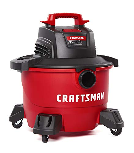 CRAFTSMAN CMXEVBE17584 6 gallon 3.5 Peak Hp Wet/Dry Vac, Portable Shop Vacuum with Attachments