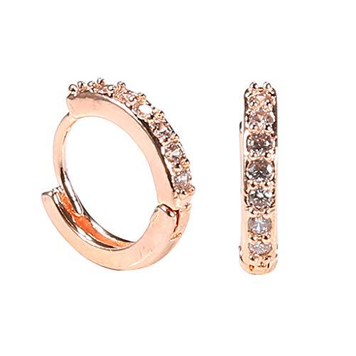 Minshao - Pendientes de plata de ley con diamantes de imitación para mujer oro rosa