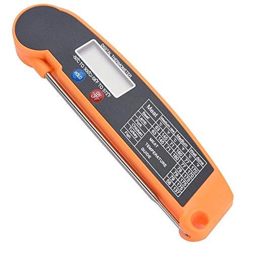 YCX LCD Digitales Lebensmittel Thermometer, Für Sofortiges Ablesen Von Fleisch Wasserdicht Smart Grill Thermometer Küche Kochen Temp,Orange