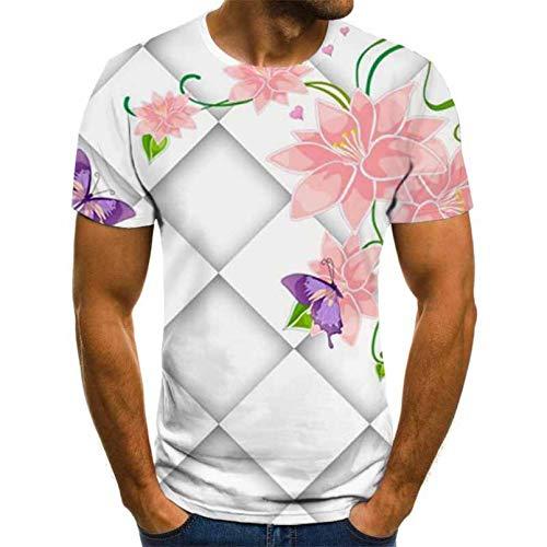 YUANCHENG Camiseta de Manga Corta con Estampado de Guitarra 3D para Hombre Camiseta de Manga Corta Diaria