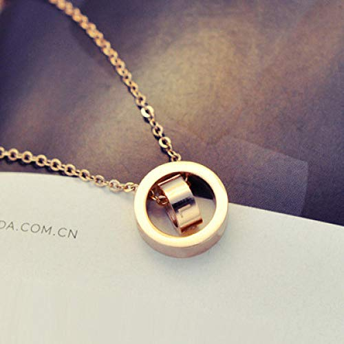 NUANYANG Modetrend Titan Stahlkette Roségold Schlüsselbeinkette Simple Style Anhänger Perfect Ladies Gift-Ring Set