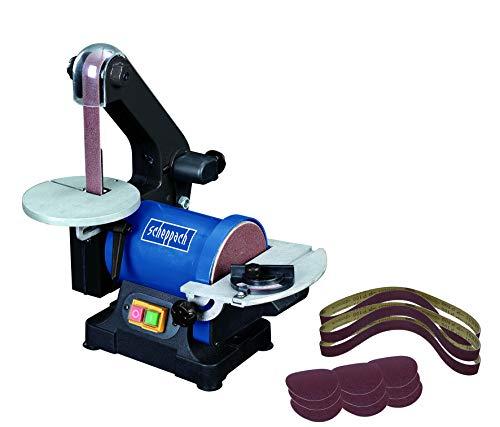 SCHEPPACH SET BTS 700 | Inkl. Ersatzschleifpapier / -bänder 12-teilig | Bandschleifer | Tellerschleifer | 250 Watt | 25 mm Schleifband | 125 mm Schleifteller