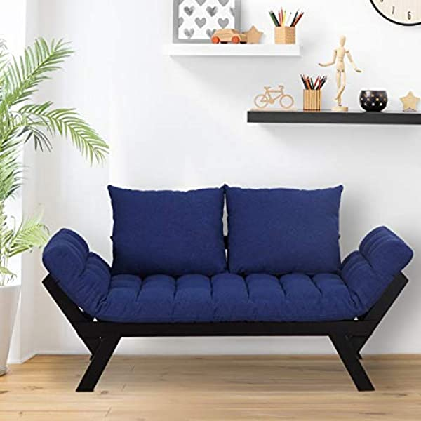Blue Sofa Bed Wooden Convertible Chaise Lounge Deep Cushion Living Room Furniture Loveseat Sleeper Accent Pillows Lounger