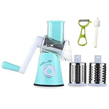 Ourokhome Round Mandoline Slicer Grinder - Rotary Cheese Grater for Walnuts, Vegetable, Potato (Blue)