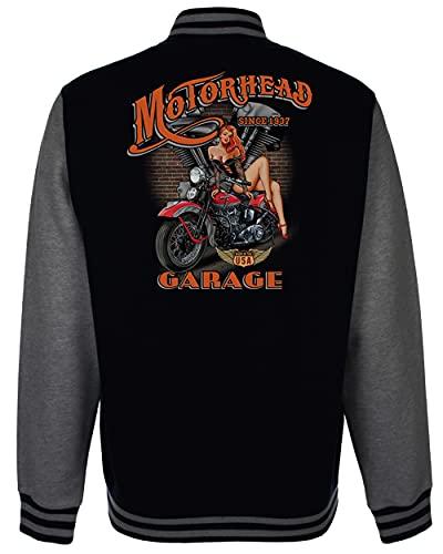 Velocitee Speed Shop Mens Varsity Jacket Motorhead Pin Up Garage Classic USA Motorcycle Biker A23622 Black Small