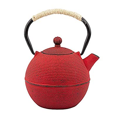 Tea Kettle, Japanese Cast Iron Teapot with Stainless Steel Infuser, Cast Iron Tea Kettle, Durable Iron Teapot Coated with Enameled Interior (Red Horizontal Stripe pattern,700ml/23.7oz)