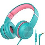 iClever HS17 Kids Headphones with Microphone, HD Stereo Headphones with Volume Limiter 85/94dB, Sharing Port, Foldable Wired Child Headphones for School/Airplane/Chromebook/iPad/Tablet/Kindle