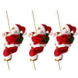 Prettyia Pack of 3 Electric Animated Climbing Santa Claus on 3ft Beads Chain Musical Moving Figure Christmas Ornament