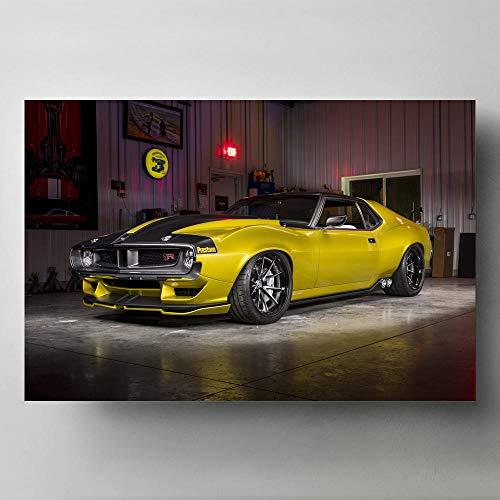 Pintura Decorativa Arte de la Pared 1972 AMC Javelin AMX Defiant Classic Muscle Car Imagen Decoración Moderna para el hogar Lienzos e Impresiones -24x32 Pulgadas sin Marco