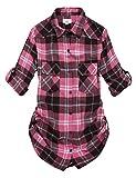 Match Women's Long Sleeve Plaid Flannel Shirt #2021(Medium, Checks#16)