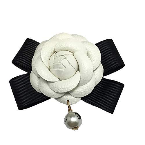 1 pz Camellia Fiore Accessori fai-da-te Accessori per cellulare Accessori da 2,4 'in pelle vintage con fiocco in pelle per decorazione di borse per abiti, bianco
