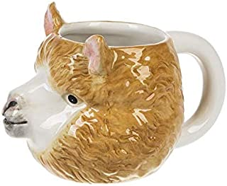 Llama 3D Coffee Tea Mug Cup, Hand Painted Ceramic - 15.5 oz. Capacity