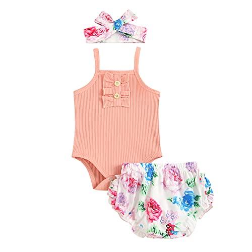 Shaohan Pelele para recién nacido con hombros y pantalones florales y cinta para la cabeza, conjunto de ropa de tirantes acanalados, camiseta con volantes, pantalones cortos de 3 piezas Rosa. 90 cm