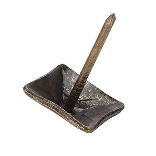 50 piezas alfileres antiguos de cabeza cuadrada, puerta de tapicería clavo cian bronce hierro chincheta clavo caja de caja antigua sofá sofá tachuela decorativa clavo cuadrado uñas 12-19mm(14x