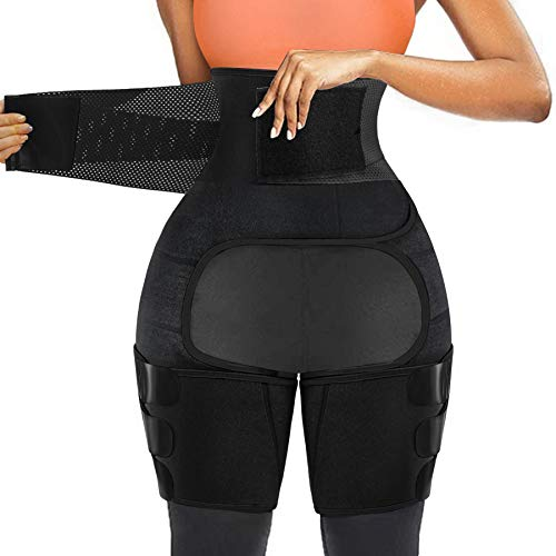 SCARBORO Waist Thigh Trainer for Women 3 in 1 High Waist Trainer Thigh Trimmer Butt Lifter Shapewear for Women Weight Loss Workout Body Shaper Sweat Band Belt (Black, Large)