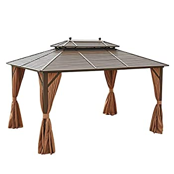 EROMMY Hardtop Gazebo Galvanized Steel Outdoor Gazebo Canopy Double Vented Roof Pergolas Aluminum Frame with Netting and Curtains for Garden,Patio,Lawns,Parties  10 x 13