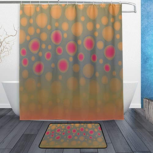 """Lecintevro Fly Fishing Brook Trout Waterproof Polyester Fabric Shower Curtain (60"""" x 72"""") Set with 12 Hooks and Bath Mats Rugs (23.6"""" x 15.7"""") for Bathroom - Set of 2"""
