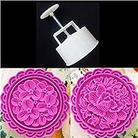 CONCEN 2 PCSラウンド10 CM花・ムーンケーキを押すスタンプ付きオプションのキッチン用品250グラムケーキ型セット1 PCプラスチック製ケーキプランジャ (Color : 1323)