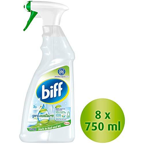 biff Pro Nature, Badreiniger, Sprühflasche, entfernt Kalk und Schmutz (8 x 750ml)