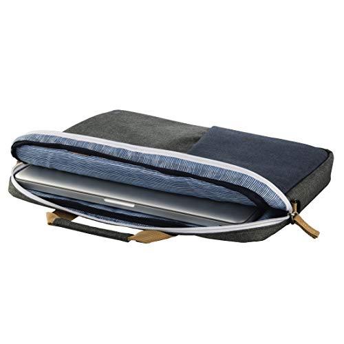 Hama Laptoptasche 40 cm, 15,6 Zoll (gepolsterte Umhängetasche mit Tragegurt und Handgriff, Schultertasche für Damen und Herren, Aktentasche mit Platz für Zubehör) grau, blau